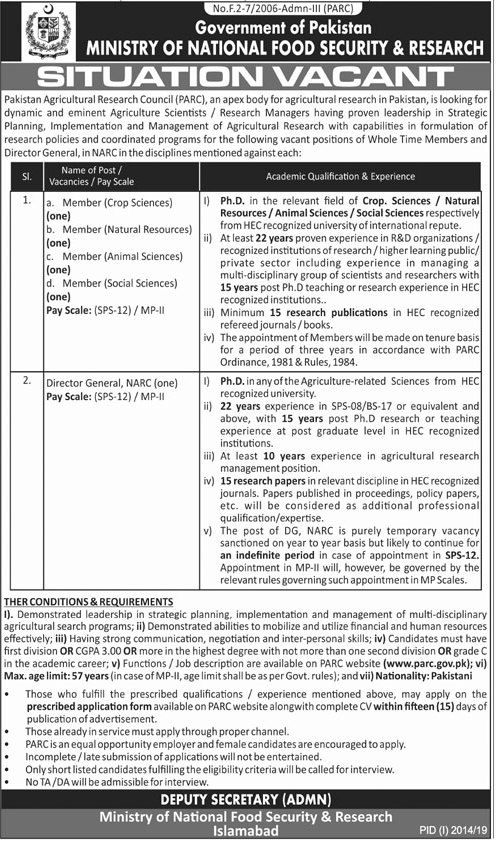 Ministry of National Food Security and Research New Jobs 2019