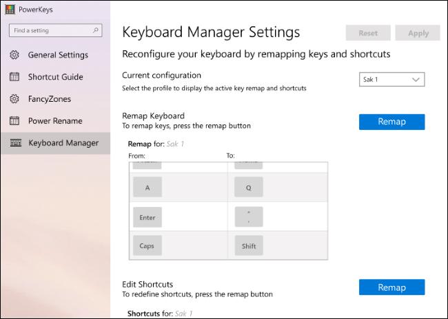 إصدار مبكر من إعدادات إدارة لوحة المفاتيح في PowerToys.