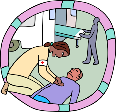 ID: a cartoon of a person pulling a gurney out from the back of an ambulance in the background and a person with long hair and a beige outfit wearing a red cross armband performing CPR on another person with short hair, wearing a pastel purple top and jeans.