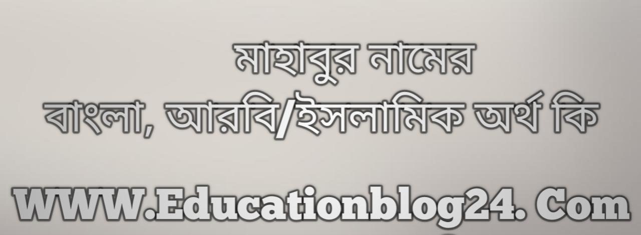 Mahabur name meaning in Bengali, মাহাবুর নামের অর্থ কি, মাহাবুর নামের বাংলা অর্থ কি, মাহাবুর নামের ইসলামিক অর্থ কি, মাহাবুর কি ইসলামিক /আরবি নাম