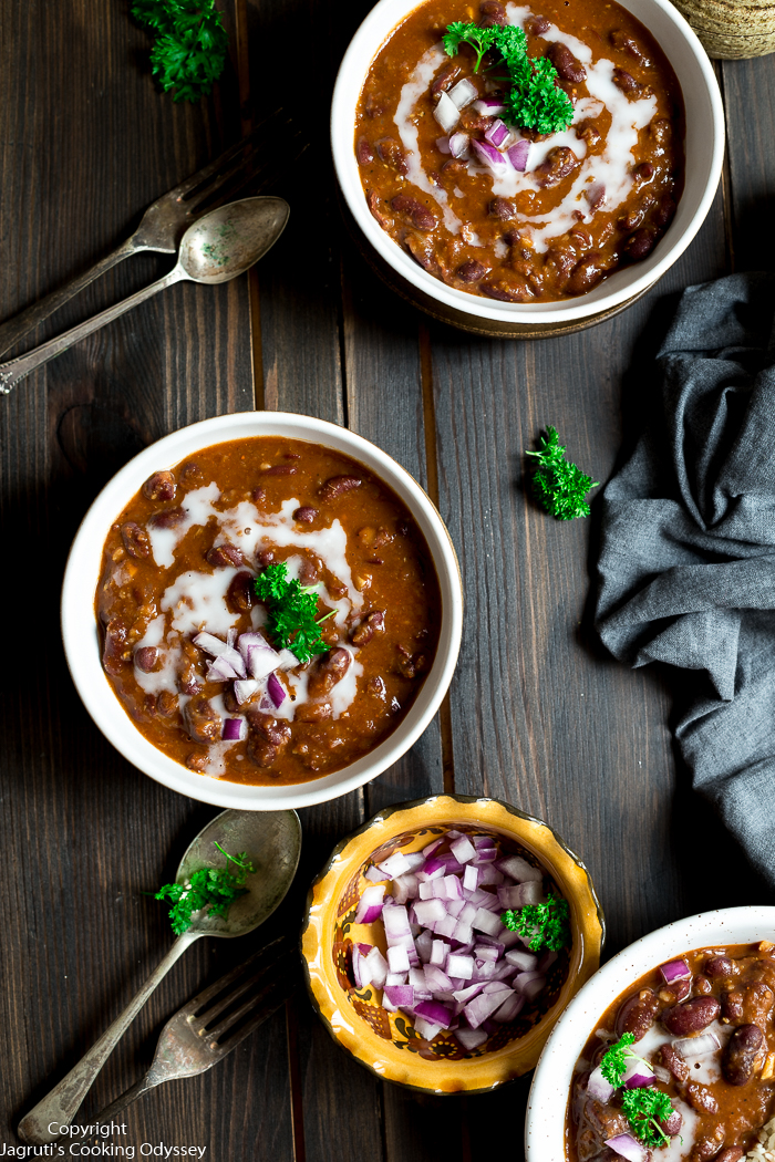 African and Indian style red kidney bean curry served with rice in a bowl.