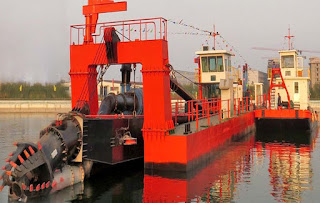 JMD350 14 inch cutter suction dredger with Work Boat
