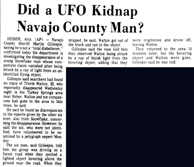 Did UFO Kidnap Navajo County Man - Arizona Daily Sun 11-8-1975