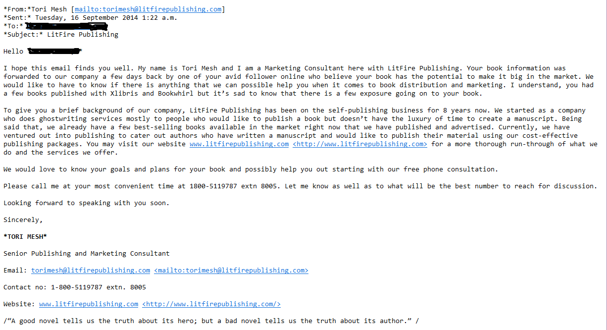 Writer Beware 174 The Blog November 2014