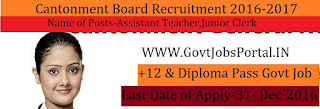 Cantonment Board Recruitment 2017 For Junoir Clerk,Assistant Teacher Post