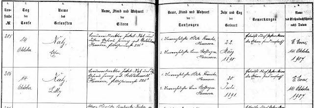 Protestant baptismal register for Elsa & Lily Katz in 1907