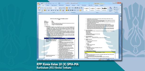RPP Kimia Kelas 10 (X) SMA-MA Kurikulum 2013 Revisi Terbaru Tahun 2019-2020