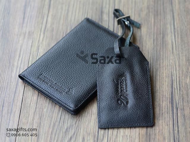 Bộ quà tặng gia dụng in logo: ví passport + thẻ đeo vali hành lý bằng da thật – BGD008
