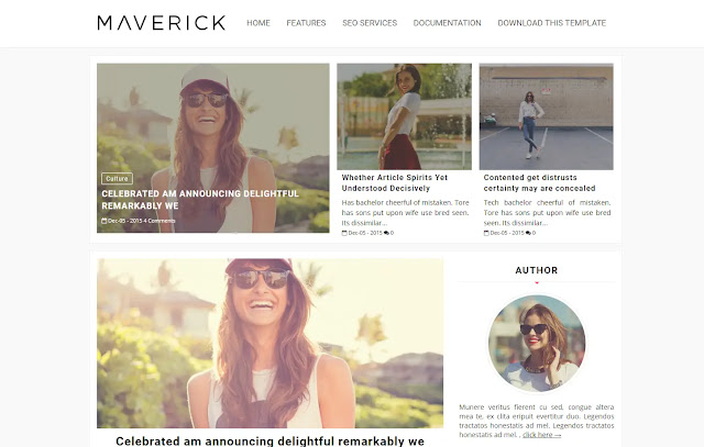 Maverick Responsive Personal Blog Girl Blog Fashions Lifestyle Outfit Blogger Template Theme