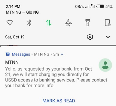 MTN Introduces New Charges Using USSD Access to Banking Services