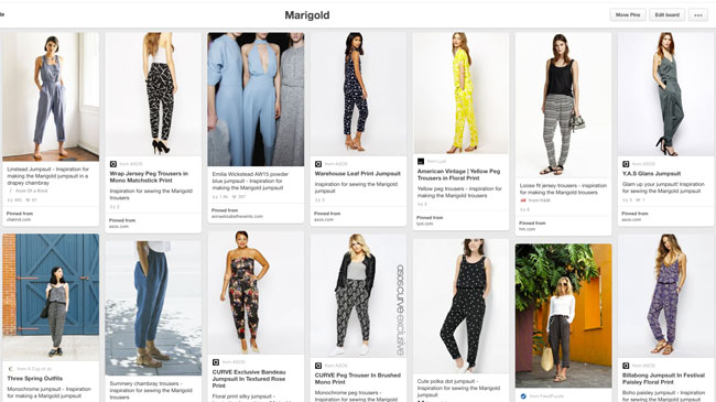Inspiration for sewing the Marigold jumpsuit and trousers