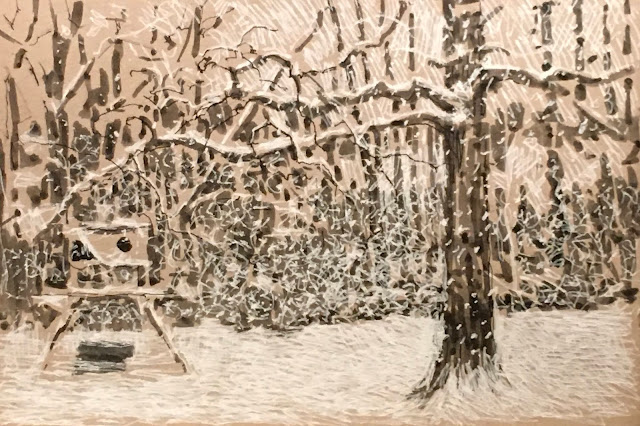 Pen and ink drawing of snow falling against a backdrop of trees and kid's backyard climbing structure.