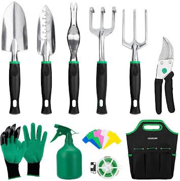 GIGALUMI Garden Tools Set -11 Piece Heavy Duty Gardening Tools