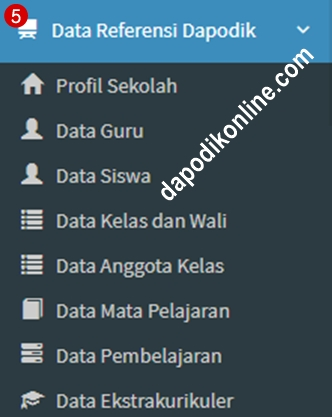 Fungsi menu data referensi dapodik di aplikasi e-rapor