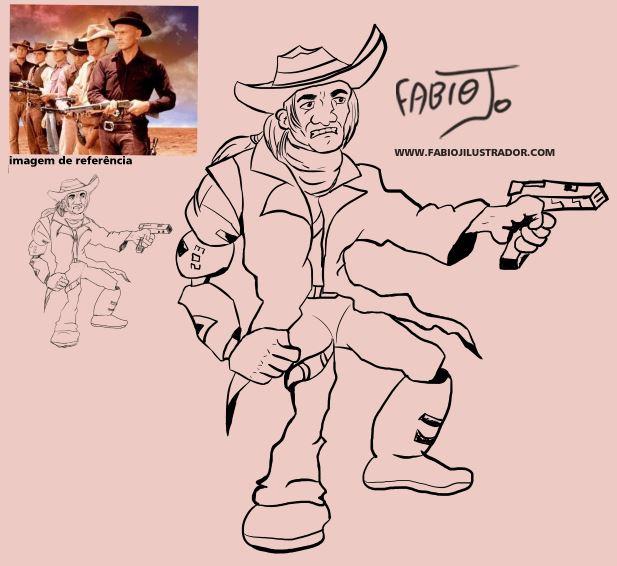 Criacao de desenho de  personagem faroeste para ilustração