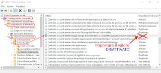 gpedit.msc - Disattiva controllo account utente