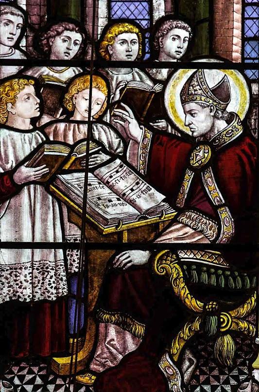 São Gregório Magno ensina o 'gregoriano' aos estudantes, catedral de Nossa Senhora, em Edinburgo, Escócia