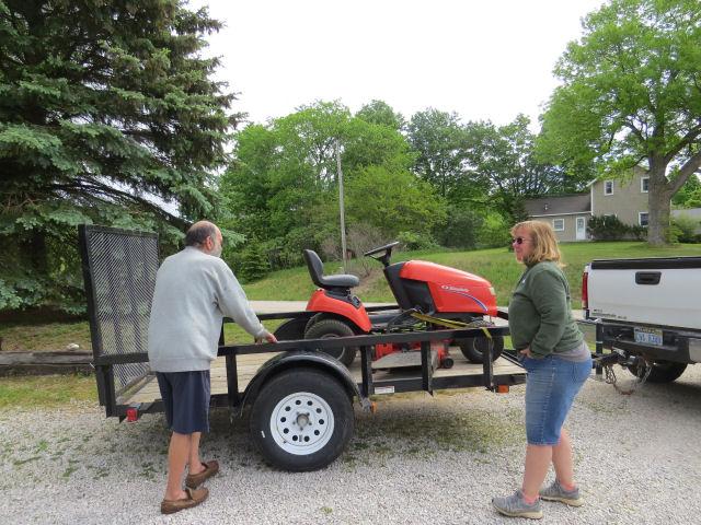 lawnmower on a trailer
