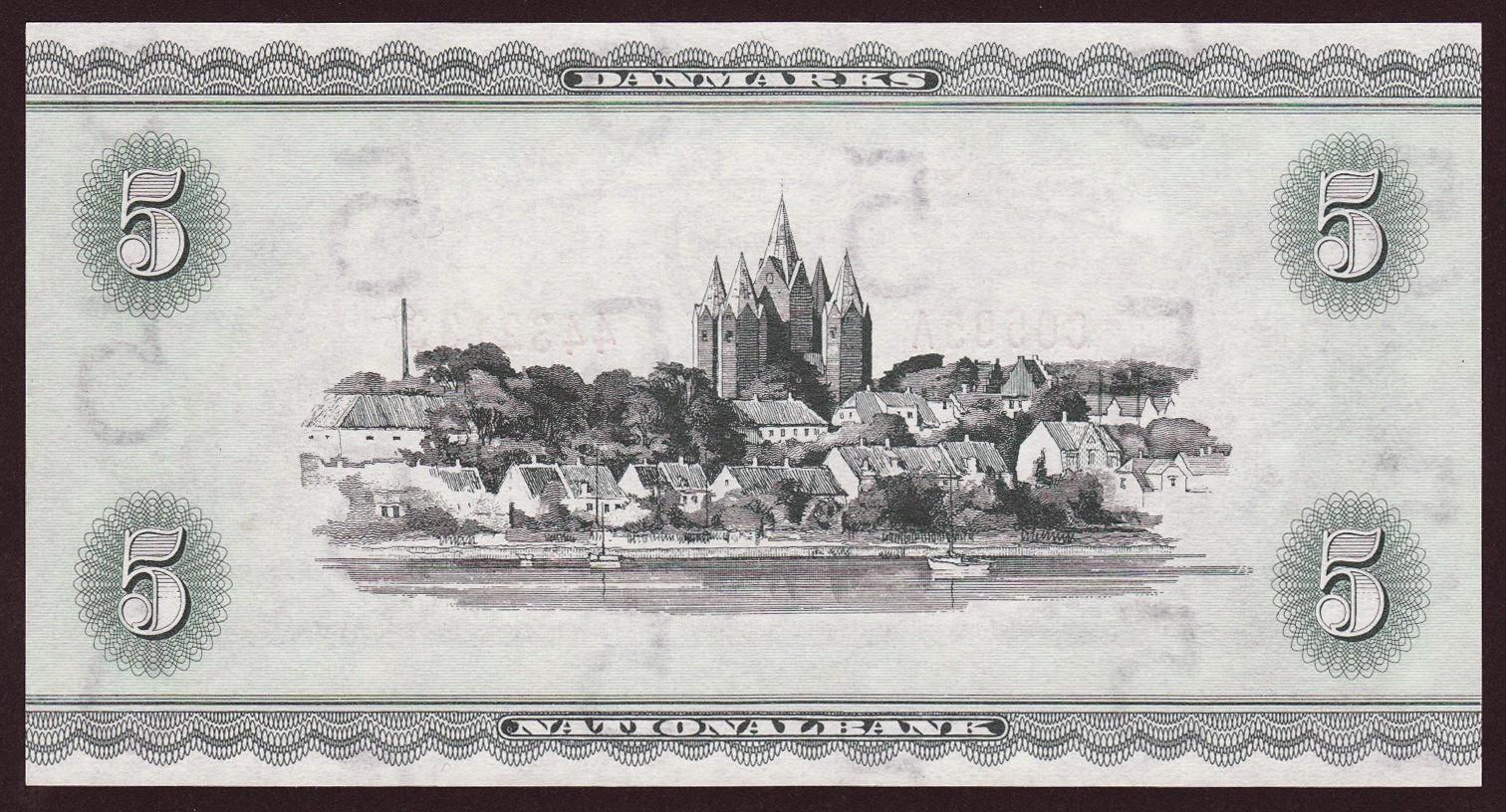 5 Danish Kroner note 1936 Town of Kalundborg