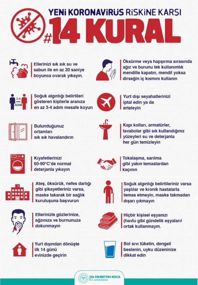 Korona Virüsünden korunmanın 14 kuralı Nedir? İşte o kurallar resimli