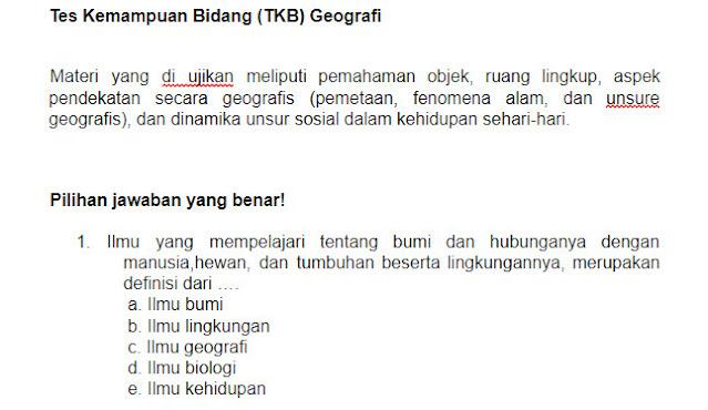 Contoh Soal PPPK (P3K) Geografi Guru dan Kunci Jawabannya