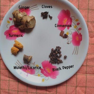 Turemeic, cinnamon, cloves, ginger, mulethi, cloves - other ingredients of herbal kadha