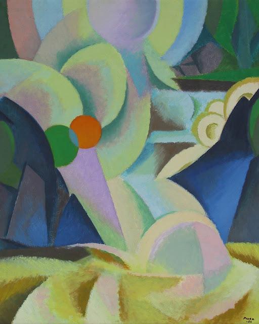 Ei-esittävä sinivihreä sommitelma, maalaus