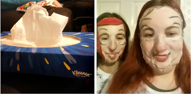 A box of tissues and my daughter and I trying out facemasks