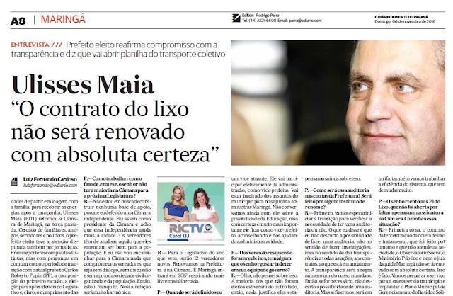 Numa das entrevistas do jornalista Luiz Fernando Cardoso para o extinto jornal, o entrevistado de domingo foi o prefeito Ulisses Maia – Reprodução: O Diário (06/11/2016)