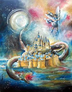 mont Saint Michel San Michele Arcangelo san Miguel arcangel acrilico tela tableau painting quadro surrealism painting fantasy art
