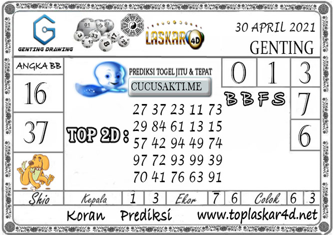 Prediksi GENTING DRAWING LASKAR4D 30 APRIL 2021