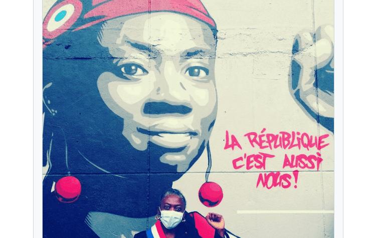A Stains (93) : La députée La France insoumise (LFI) Danièle Obono peinte en Marianne sur une fresque