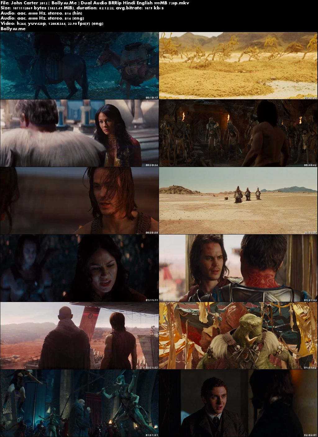 John Carter 2012 BRRip 400MB Hindi Dual Audio 480p Download