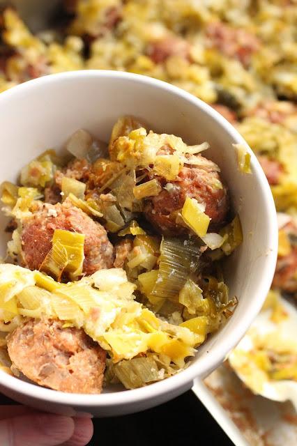 poireaux et boulette porc veau