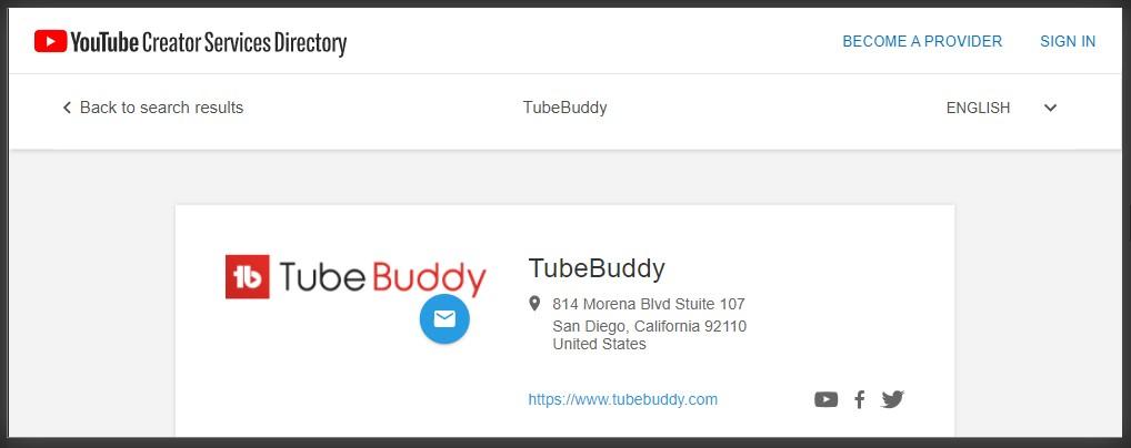 tubebuddy sebagai layanan terdaftar di YouTube