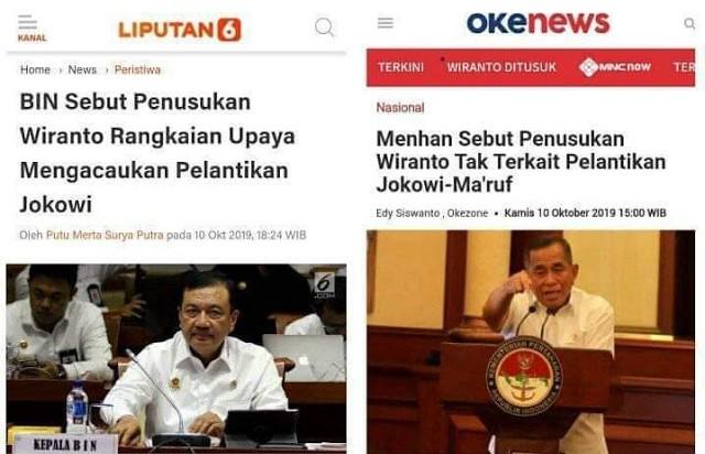 Kepala BIN & Menhan Beda Berikan Keterangan Penusukan Wiranto, Komunikasi Rezim Jokowi Amburadul?