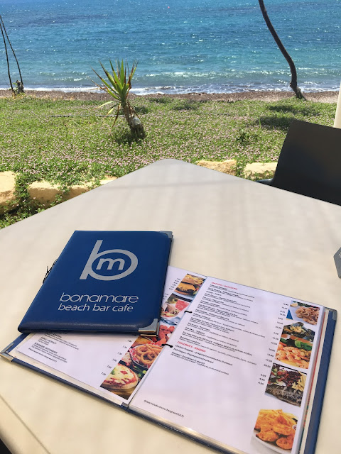 extensive menu at Bonamare beach bar cafe