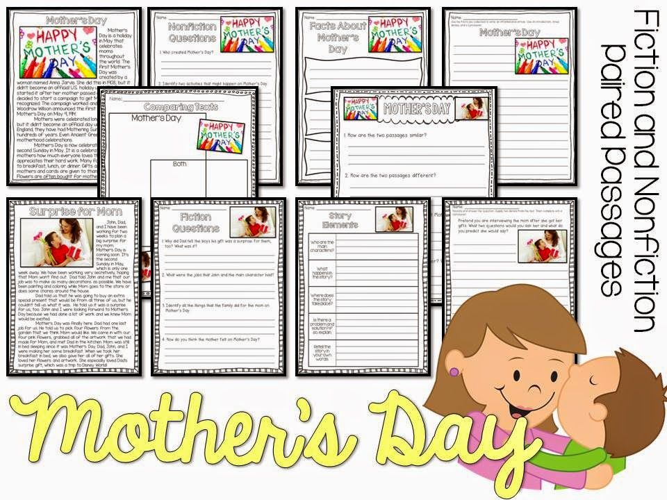 May fiction and nonfiction paired texts- all about Mother's Day- paired passages with 5 themes for May