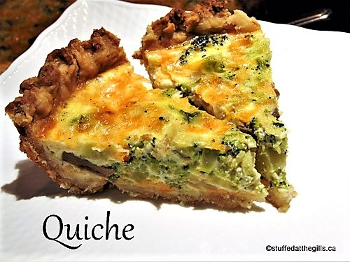 Broccoli and Onion Quiche made with Cheddar cheese.