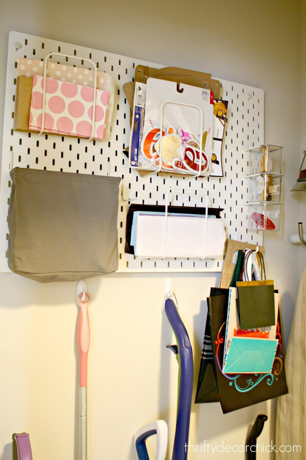 gift wrap and party supply wall storage