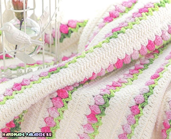 Узор «тюльпаны» для вязания крючком пледа (3)