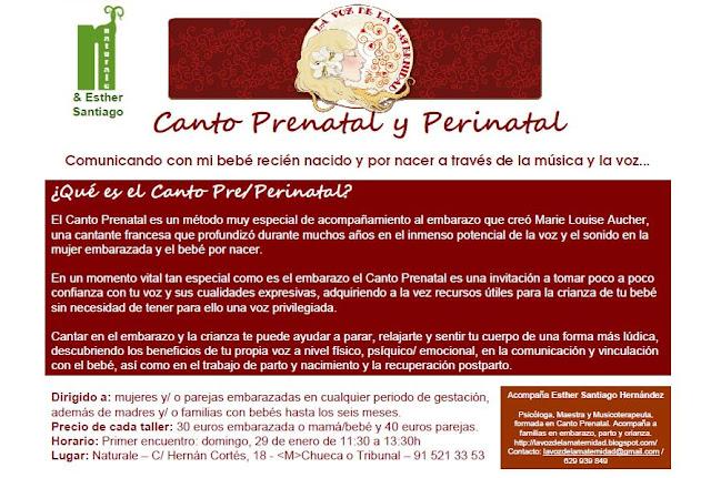 TALLER DE CANTO PRE Y PERINATAL 29 DE ENERO