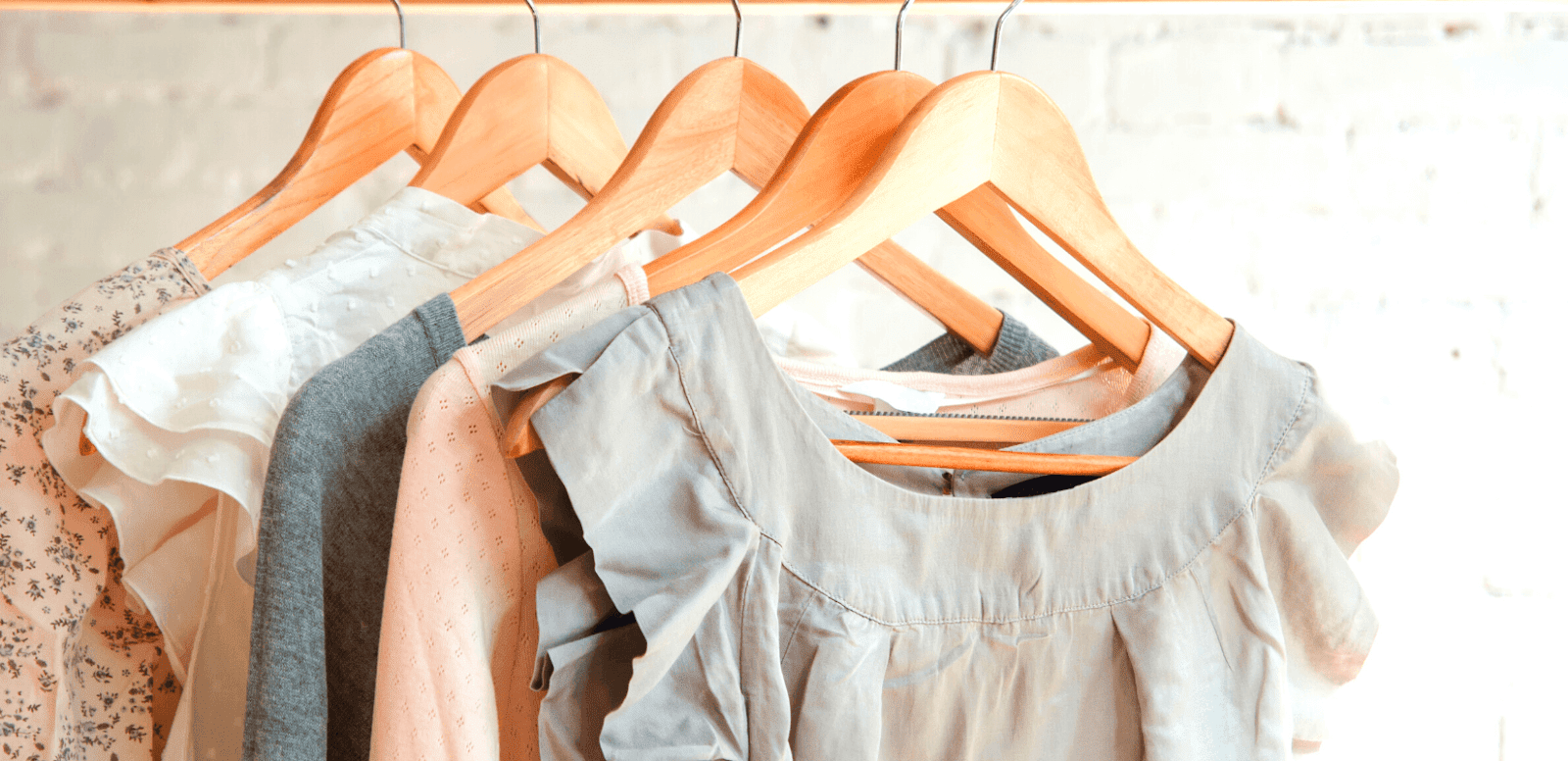 Women's clothes on a wooden hanger