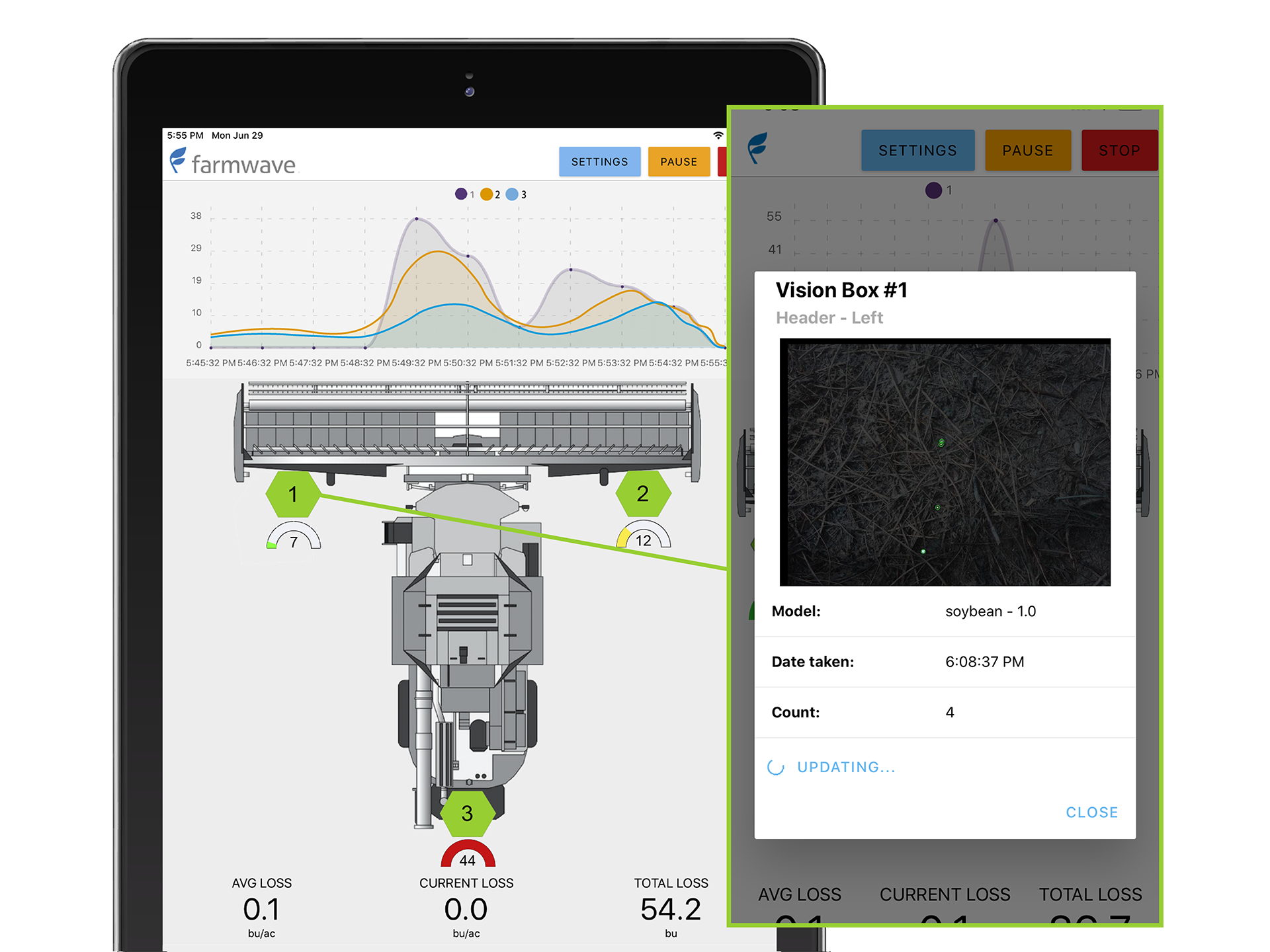 The tool, from Farmwave, includes custom-developed ML models, a harvester-mounted box with cameras, an in-cab display, and on- device AI acceleration from Coral.