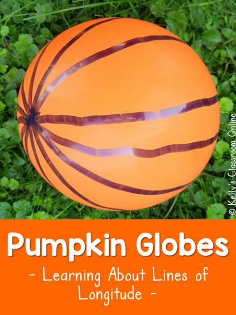 Pumpkin balloon globe craft to teach prime meridian, International Date Line, North Pole, South Pole, & lines of longitude. Geography. Social Studies.