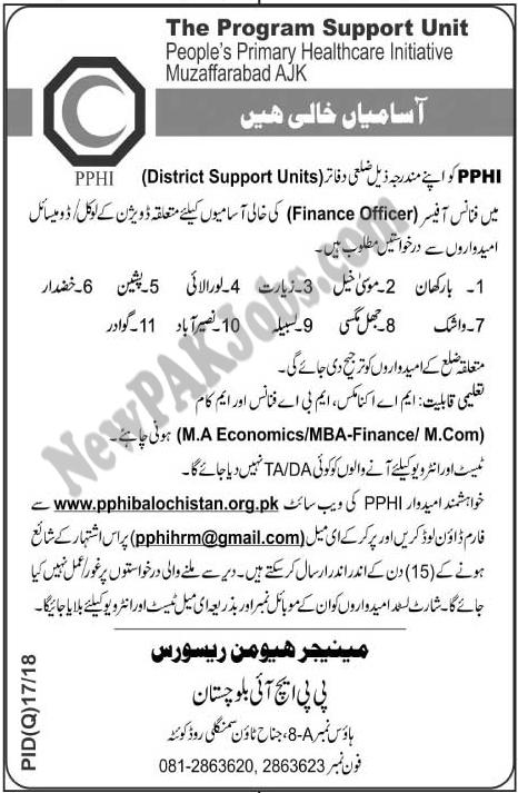 Primary Healthcare Initiative PPHI Job in Quetta Jan 2018
