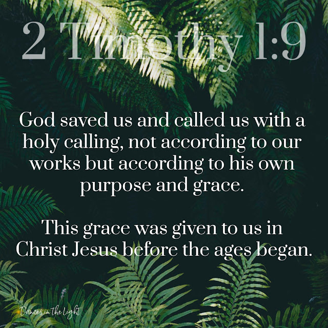 He has saved us and called us to a holy life—not because of anything we have done but because of his own purpose and grace. This grace was given us in Christ Jesus before the beginning of time.