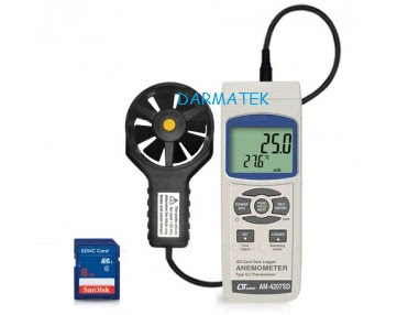 Jual Lutron AM-4207SD Anemometer, + type K/ J Temp. SD Card Datalogger
