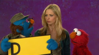 Sarah Michelle Gellar talks with Elmo about disappointed. Celebrity. the Word on the Street. Sesame Street Episode 4417 Grandparents Celebration season 44