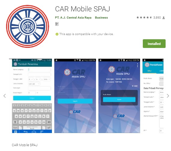 Download Aplikasi CAR Mobile SPAJ